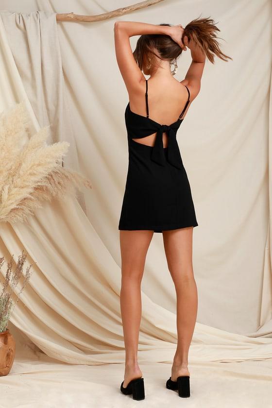 1d717925192 Cute Black Dress - Mini Dress - Tie-Back Dress - Sheath Dress