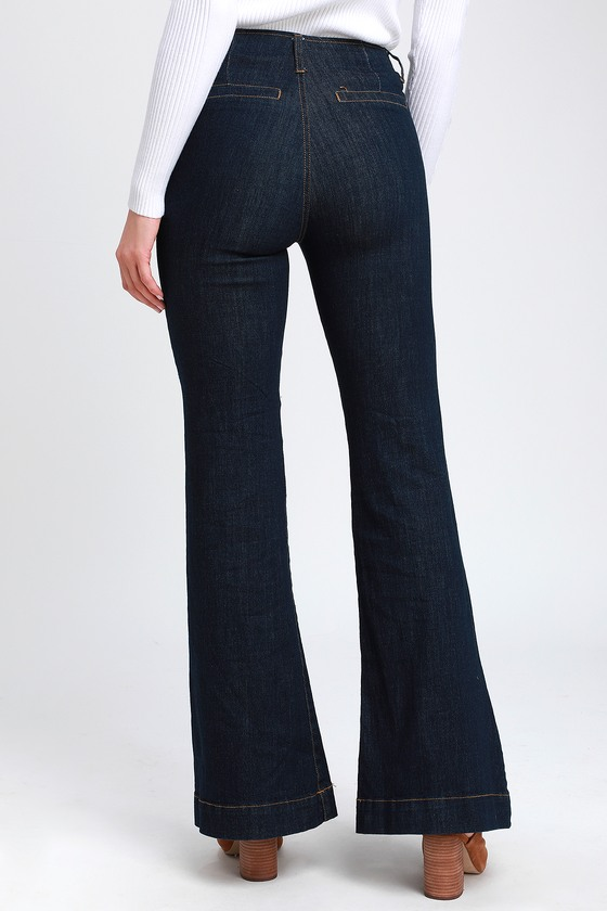 dff9006726f0 Cute Dark Wash Jeans - Flare Jeans - High-Waisted Jeans