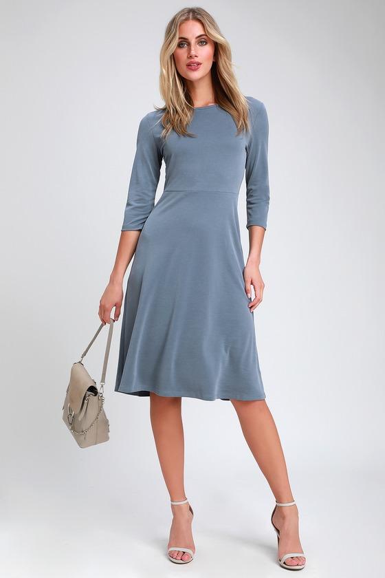 d6c08d4e0bf832 Cute Slate Blue Skater Dress - Midi Dress - Long Sleeve Dress