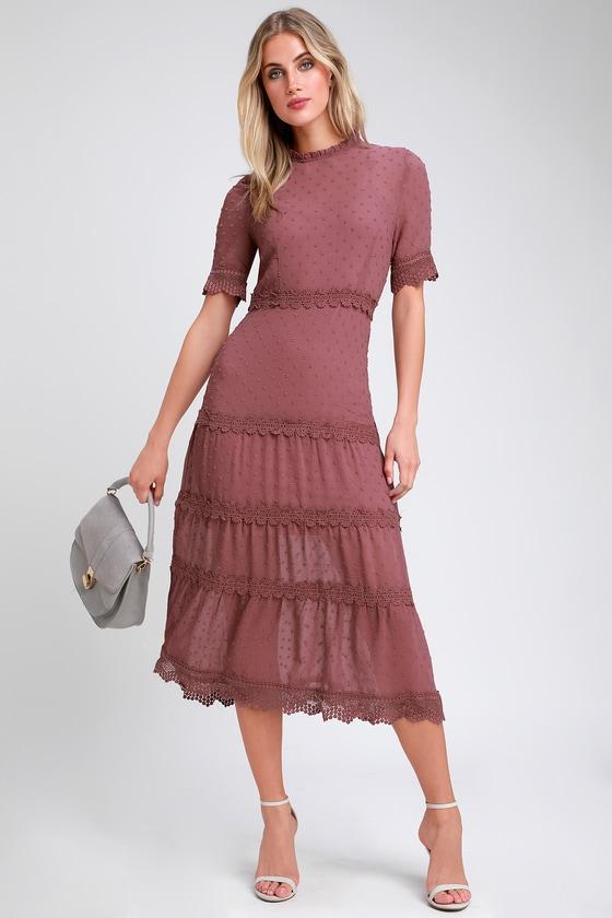 bf48467b018 Pretty Mauve Purple Dress - Swiss Dot Dress - Lace Midi Dress
