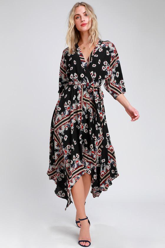 33ad006bef Boho Black Print Dress - Midi Dress - Handkerchief Hem Dress