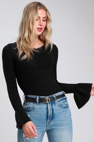 257d14ffdb464 Kella Black Ribbed Flounce Sleeve Sweater Top