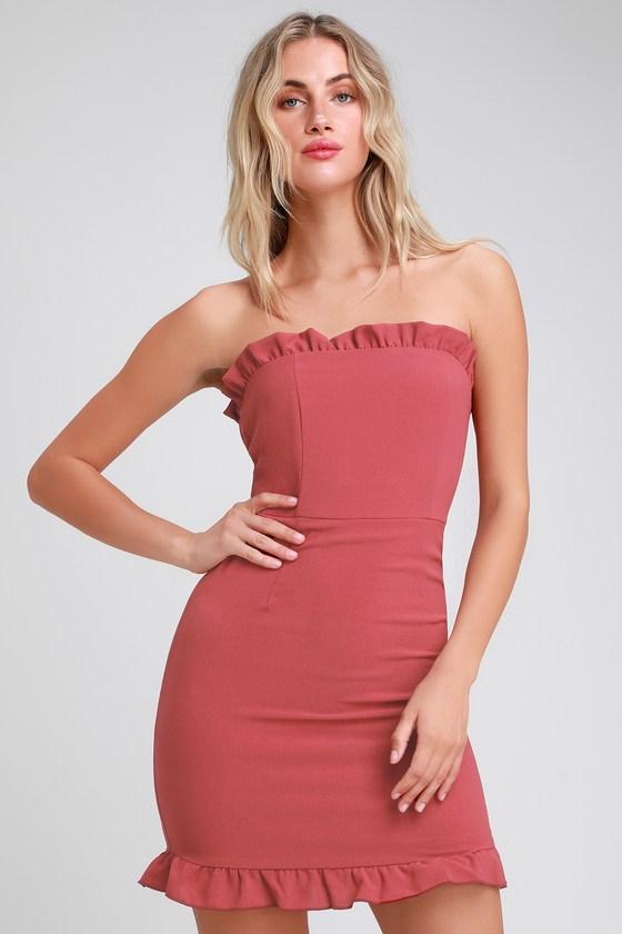 11d614f74d3d Cute Rusty Rose Dress - Strapless Dress - Bodycon Dress - Dress
