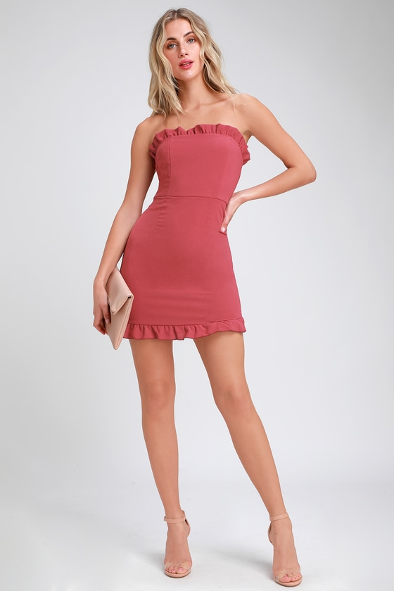 Cute Rusty Rose Dress - Strapless Dress - Bodycon Dress ...
