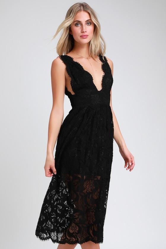 c208fd409b9 Cute Black Lace Dress - Midi Dress - Sleeveless Midi Dress