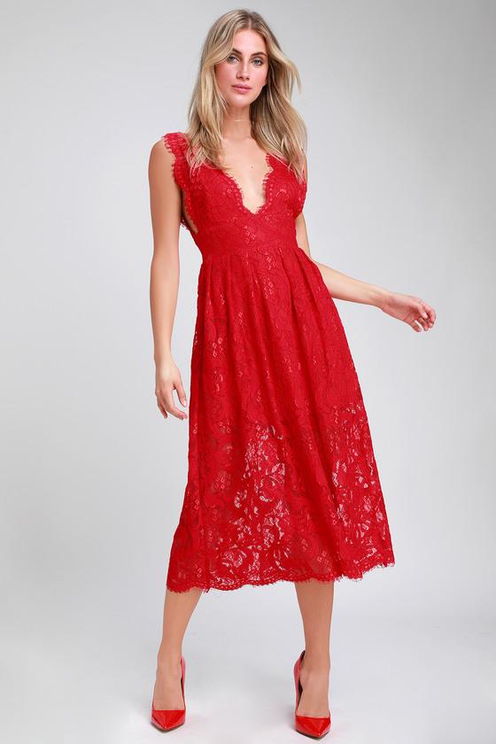 c4b10e6489 Cute Red Lace Dress - Red Midi Dress - Sleeveless Midi Dress