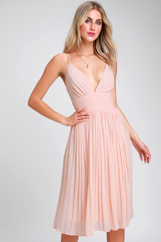 8b55d6d878 Stunning Blush Pink Dress - Pleated Dress - Pleated Midi Dress