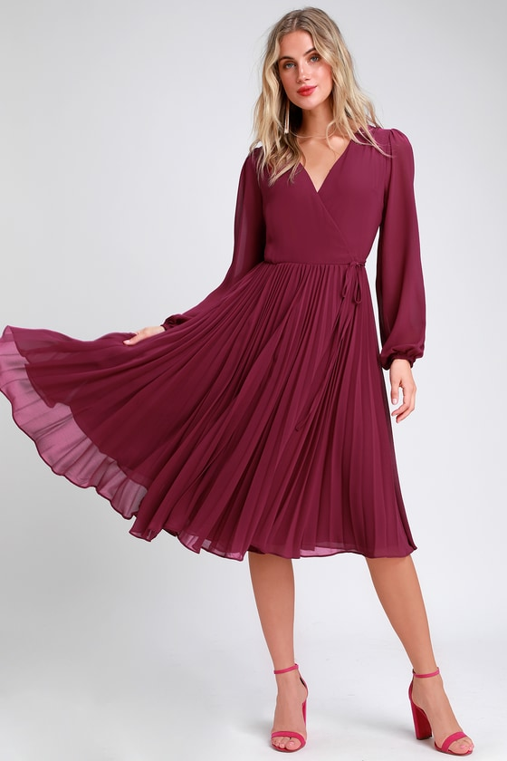 2bd0405e7274c Pretty Magenta Dress - Midi Wrap Dress - Pleated Midi Dress
