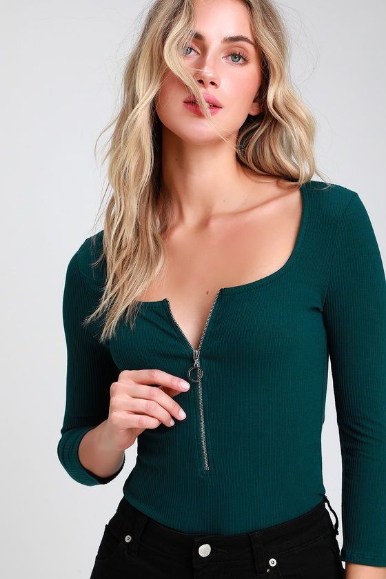 12f41d210b Talk to the Hand Dark Green Ribbed Zip-Front Bodysuit