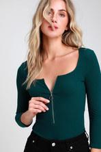 Honey Punch Bodysuit - Green Ribbed Bodysuit - Lace-Up Bodysuit 4c9794087