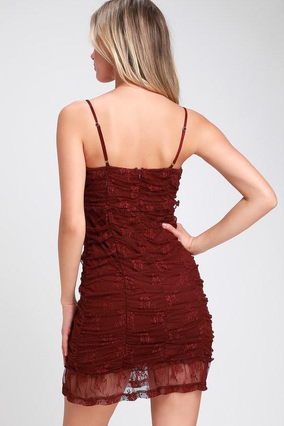 e9b83bc583c Sexy Lace Dress - Ruched Lace Dress - Plum Purple Bodycon Dress