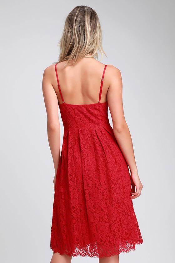Cute Red Dress - Red Lace Dress - Lace Midi Dress - Skater Dress ec8dc64dd