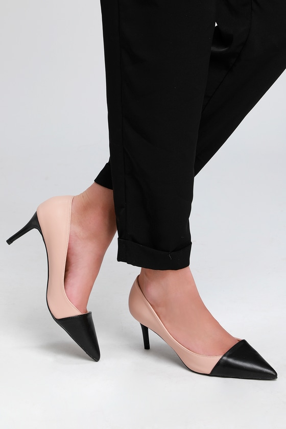 99c9f9db1 Cute Pumps - Two-Tone Pups - Nude and Black Pumps - Chic Pumps