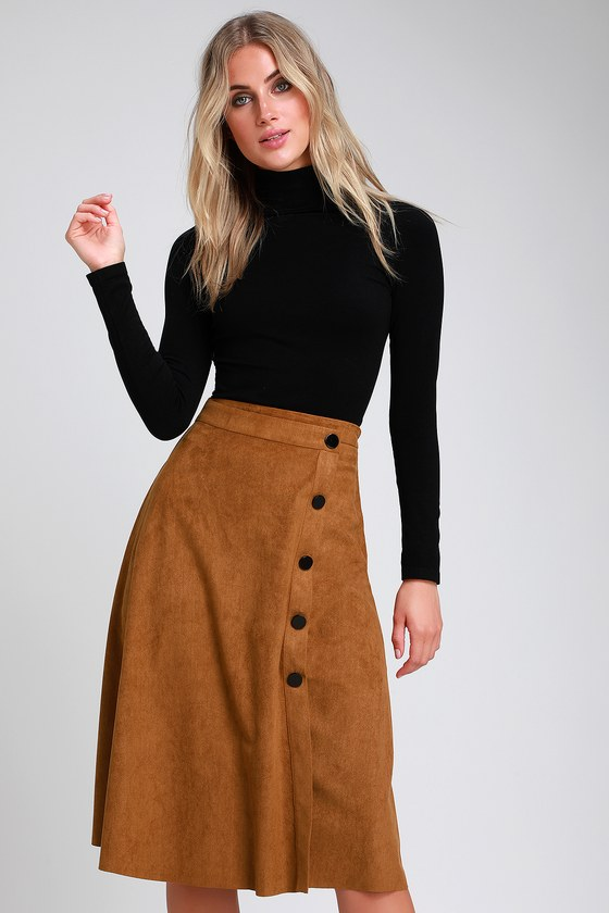60s Skirts | 70s Hippie Skirts, Jumper Dresses Halloway Tan Suede Button-Front Midi Skirt - Lulus $40.00 AT vintagedancer.com