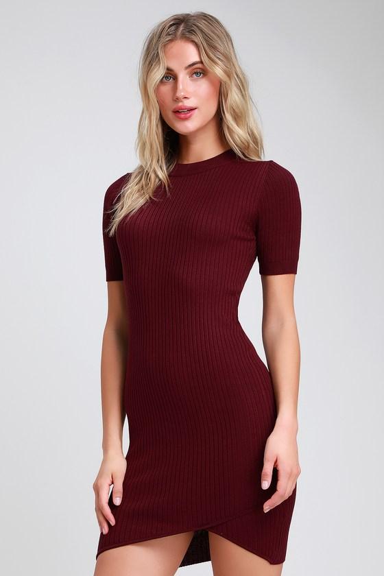 97b920986aa4 Chic Burgundy Dress - Ribbed Bodycon Dress - Bodycon Mini Dress