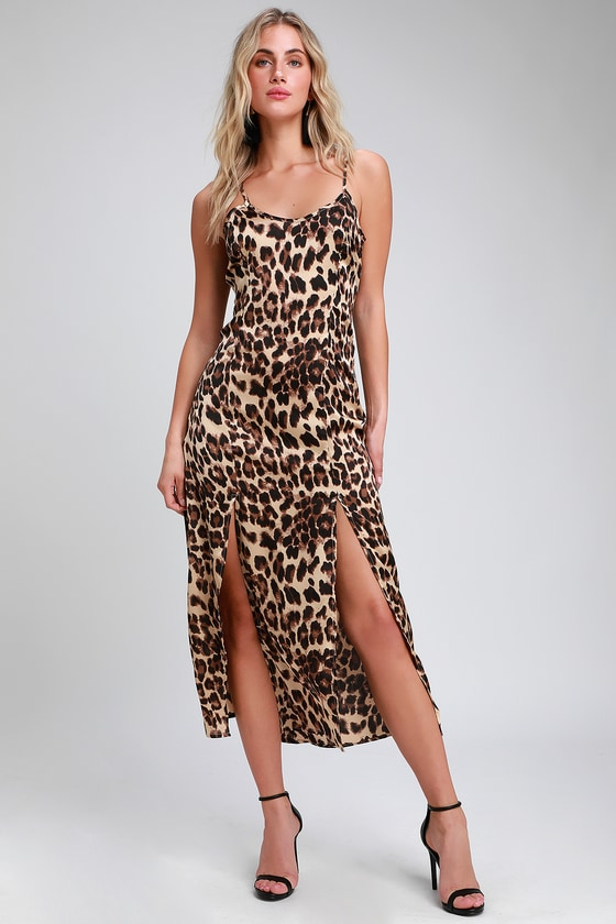 f876d48aa7 Sexy Leopard Print Dress - Satin Slip Dress - Midi Slip Dress