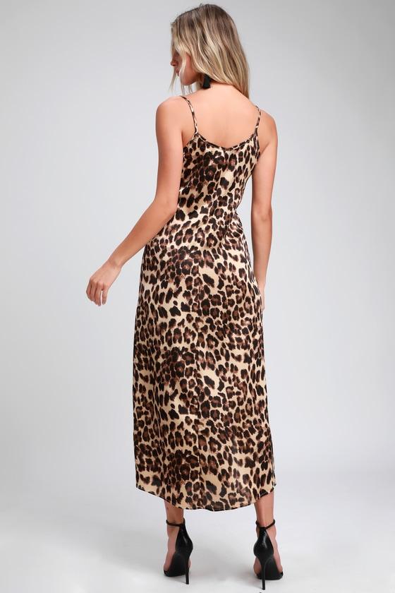 869da3131c2 Sexy Leopard Print Dress - Satin Slip Dress - Midi Slip Dress
