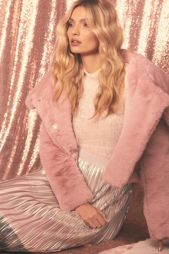 41c6623826 Luxe Fur Jacket - Mauve Pink Fur Jacket - Faux Fur Jacket