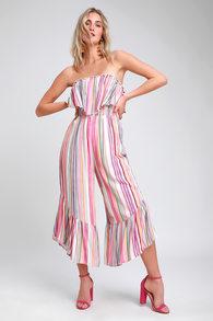 685fb293c1b Moonstone Beach Pink Multi Striped Strapless Culotte Jumpsuit