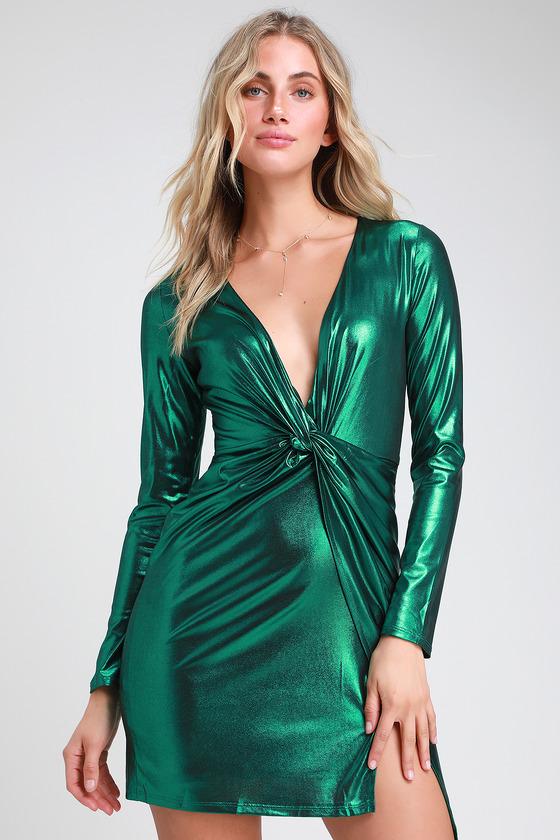 Green Metallic Dress