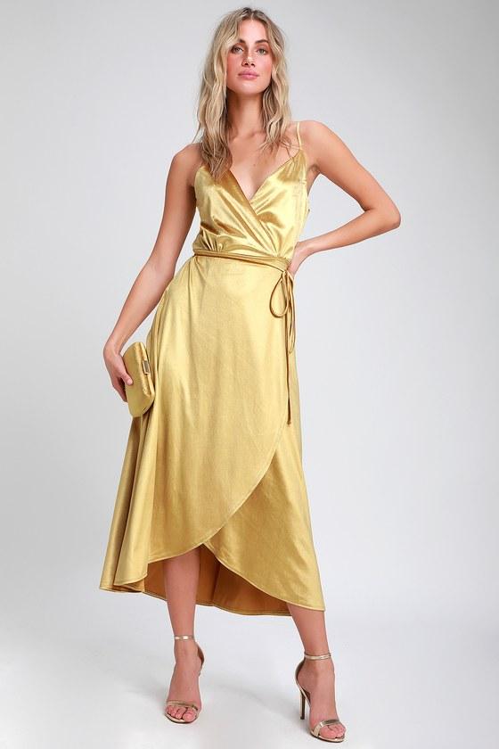 adfd2ea7dca7d Chic Yellow Dress - Velvet High-Low Dress - Velvet Wrap Dress