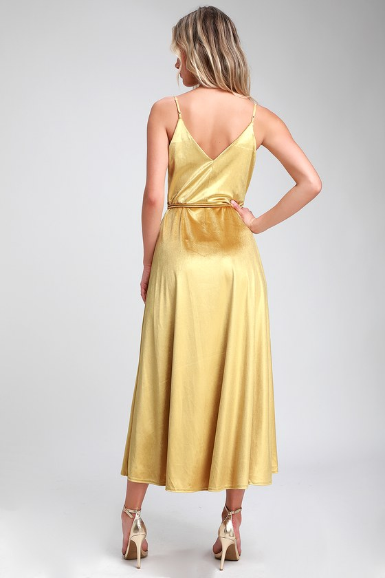 cfda2cb66fd7c Starlight Starbright Mustard Yellow Velvet High-Low Wrap Dress