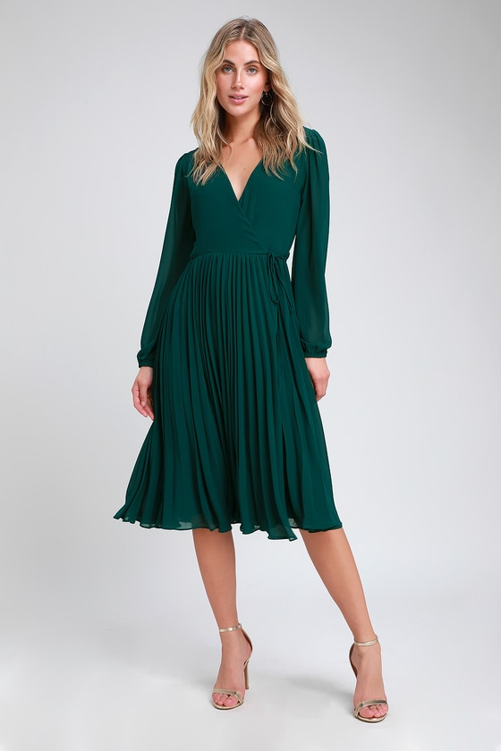 69a674b609 Pretty Dark Green Dress - Midi Wrap Dress - Pleated Midi Dress