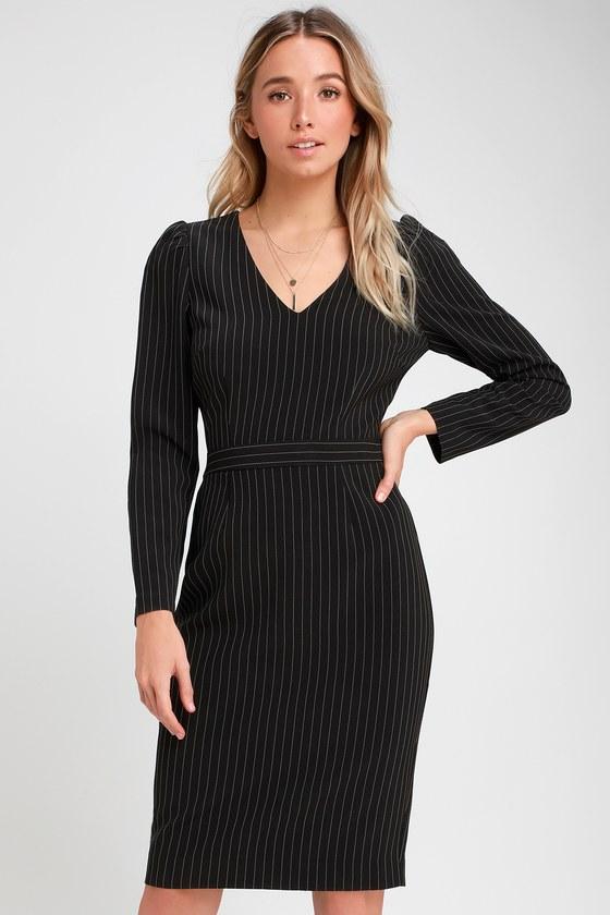 Keeping It Classy Black Striped Long Sleeve Midi Dress by Ali & Jay
