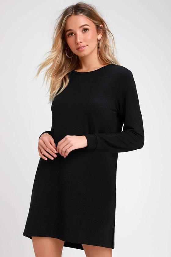 83a8a66fc93 Cute Black Dress - Long Sleeve Shift Dress - Sweater Dress