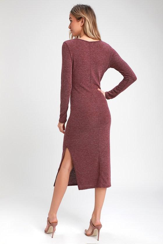 80c8e523c874 Cute Plum Purple Dress - Sweater Dress - Long Sleeve Dress