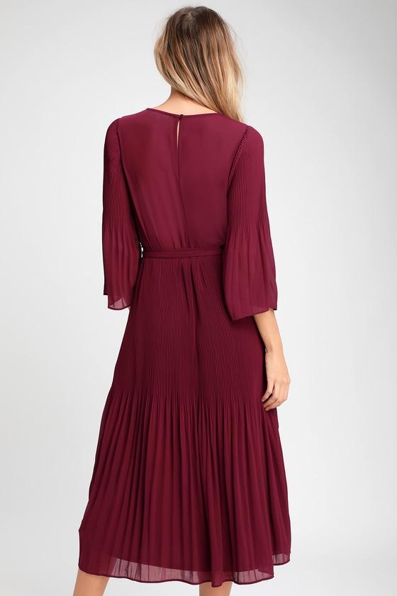 6801c0c85bd Chic Burgundy Dress - Midi Dress - Pleated Midi Dress