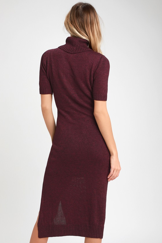 8cbe718ec547 Cute Purple Dress - Midi Dress - Sweater Dress - Purple Dress