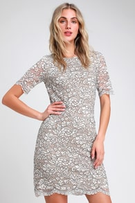 simply chic black and cream lace shift dress