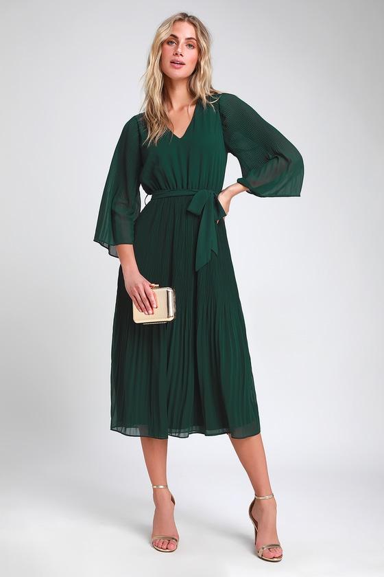 b790a7b188 Chic Dark Green Dress - Midi Dress - Pleated Midi Dress