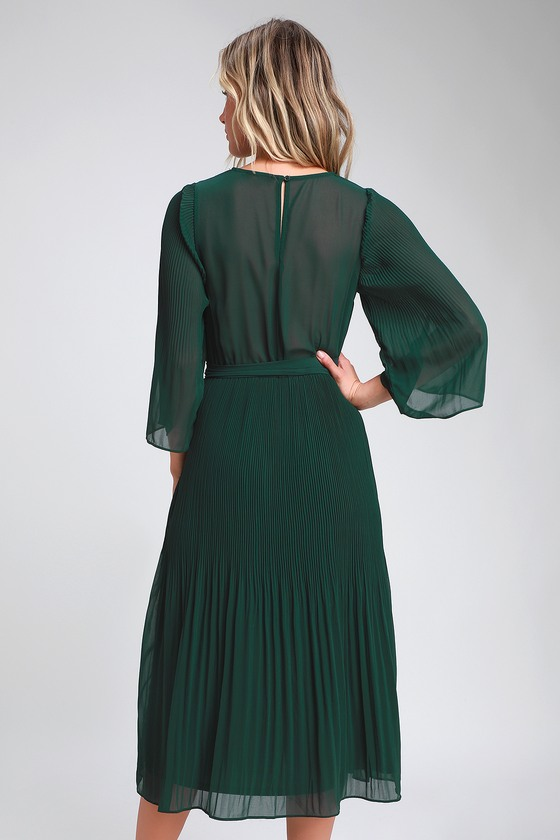 f30b0f325d1a Chic Dark Green Dress - Midi Dress - Pleated Midi Dress
