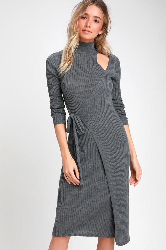 Chic Grey Sweater Dress - Ribbed Wrap Dress - Midi Sweater Dress 097cd0853