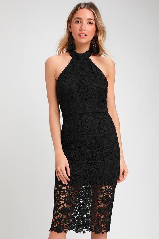 dabd526b425e Cute Black Lace Dress - Lace Halter Dress - Lace Midi Dress
