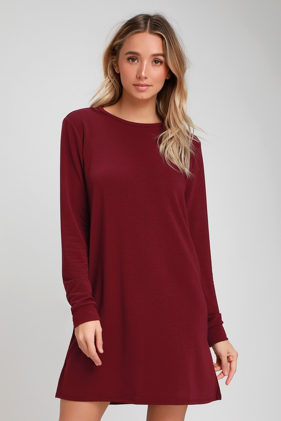 3b669968d6c5 Cute Burgundy Dress - Long Sleeve Shift Dress - Sweater Dress