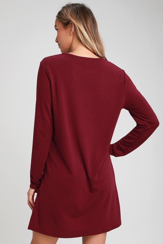 6e73d5a9 Cute Burgundy Dress - Long Sleeve Shift Dress - Sweater Dress