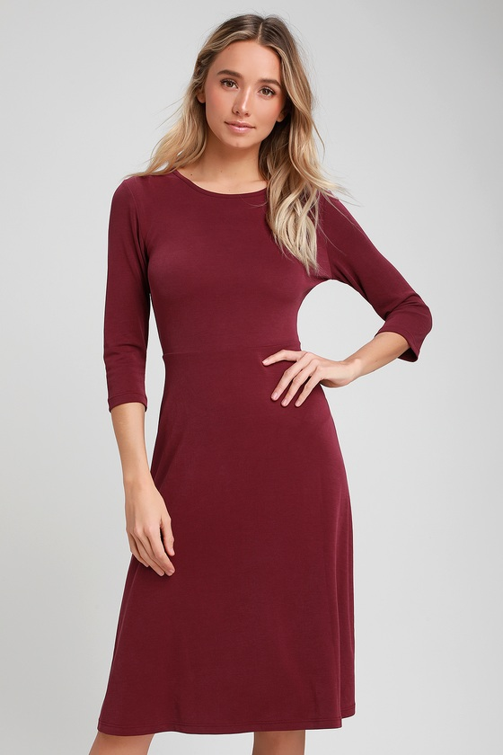 d80d2eb02a Cute Burgundy Skater Dress - Midi Dress - Long Sleeve Dress