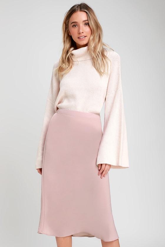 23bfed436d Cute Skirt - Midi Skirt - Dusty Rose Skirt - Satin Midi Skirt