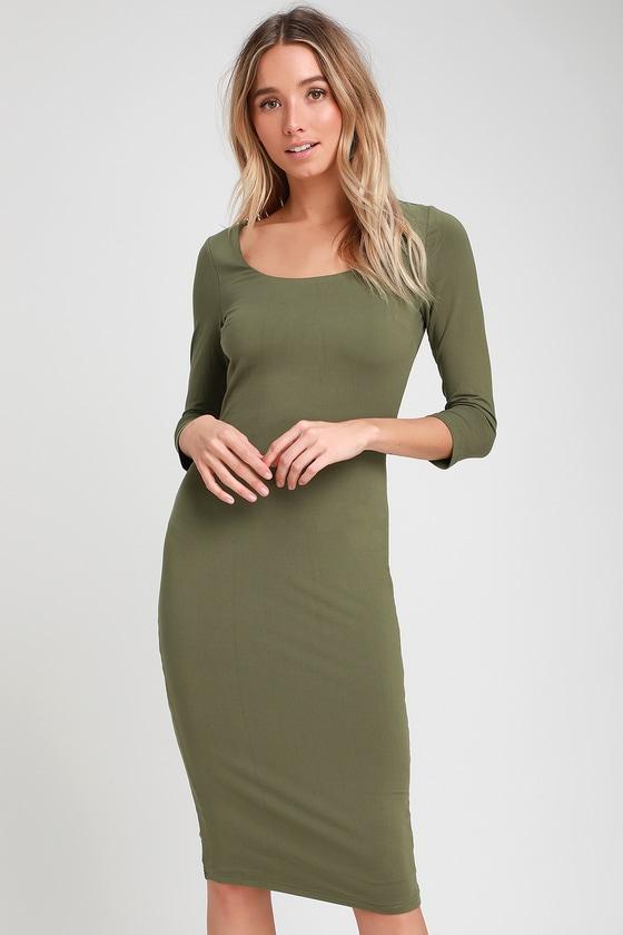 Olive green bodycon midi dress clothes
