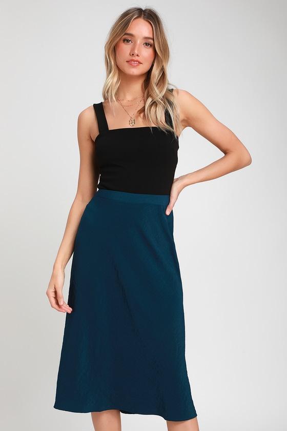 ed925885e Cute Skirt - Midi Skirt - Navy Blue Skirt - Satin Midi Skirt