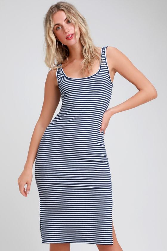 e1b160a92508 Cute Striped Dress - Navy Blue and White Dress - Midi Dress