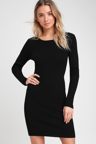 a4eb6c742e5 Kiss and Lace Up Black Lace-Up Long Sleeve Sweater Dress