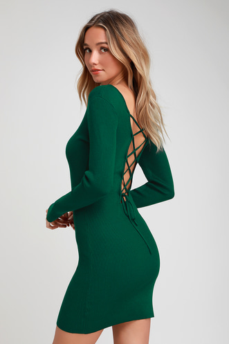 aaf1515ff44 Kiss and Lace Up Dark Green Lace-Up Long Sleeve Sweater Dress