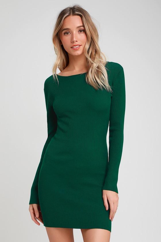 f05ac87e2d04 Sexy Dark Green Sweater Dress - Lace-Up Dress - Long Sleeve Dress