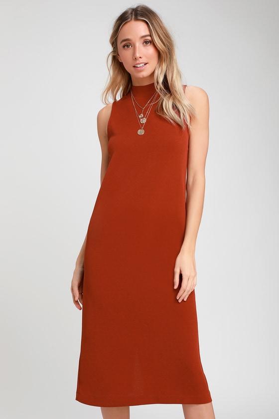 62c04077d4 Chic Rust Orange Dress - Midi Dress - Button-Back Dress - Sheath