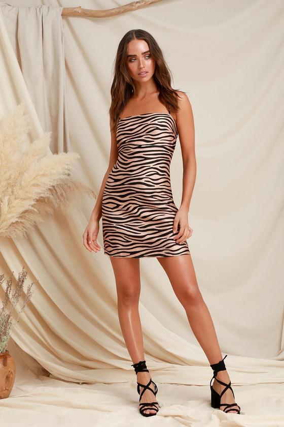 9f85ca12a6f5 Sexy Zebra Print Dress - Satin Mini Dress - Nude and Black Dress