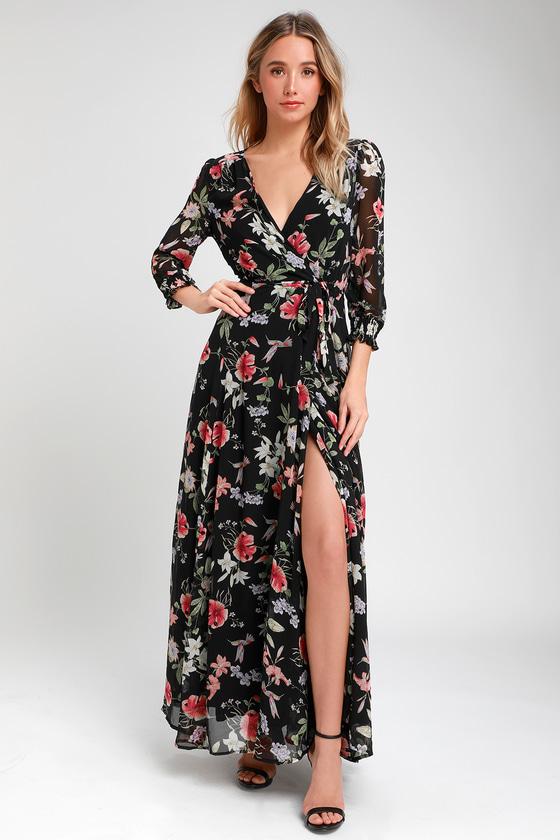 Black Print Chiffon Dress